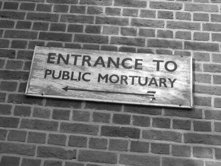 coroner: Direction to mortuary Stock Photo