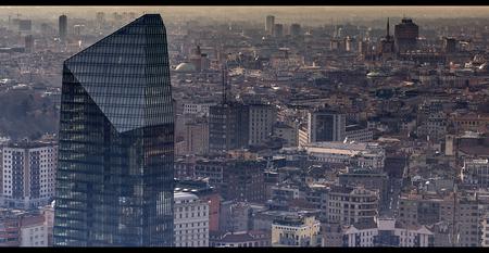 Aerial view of Milan Stock Photo