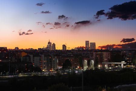 Skyline of Milan at sunsrise Stock Photo