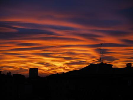 Sunset is Milan city Banco de Imagens