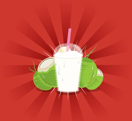 quench: Coconut shake in a cup with coconuts at the back on red background
