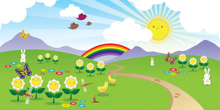 Cheerful scenery with cute smiling flowers, sun and animals Vector