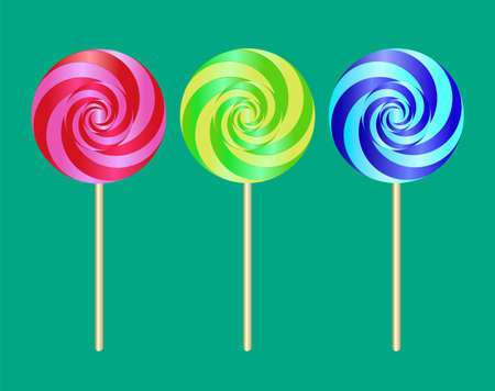 Colorful sweet lollipop. Vector illustration with candy on green Ilustracja