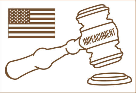Impeachment of the president in the USA. Judge gavel and flag of america in brown vector. Stock Illustratie
