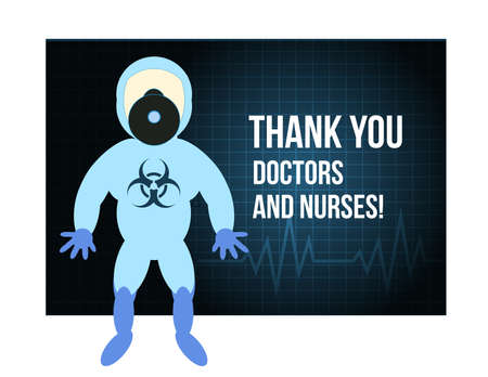 Thank You Doctor and Nurses. Cartoon Character in Protective Costume. Stop Coronavirus. Illusztráció