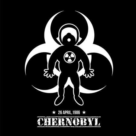 Chernobyl Disaster Liquidator. Tourism in Pripyat. Hero Stalker on Black Background. Signs Radiation and Hazard. Vector