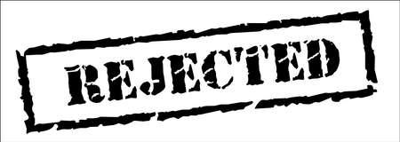 Rejected, Black Stamp Inscription on White Background. Vector