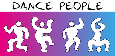 Dance People on Colorful Background, Abstact Human, Disco Dancer Style, Vector