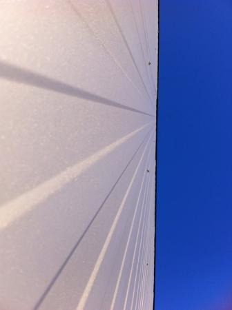 metallic: White metallic wall and blue sky