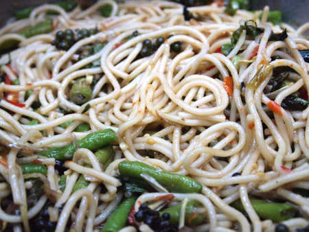 spagetti with chilli in Thai syle and spicy taste