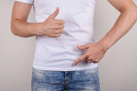 Duration no problem therapy treatment passion urology concept. Cropped close up photo of happy glad guy showing demonstrating groin zipper pants trousers jeans make give like isolated grey background