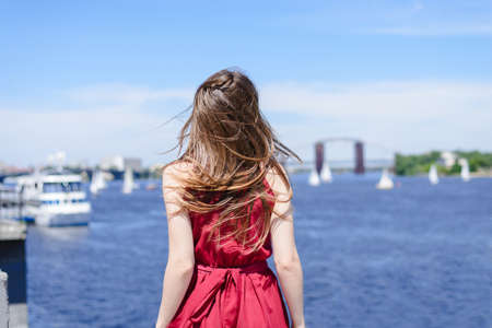 Sly sun blue water nature city escape emotion expressing resort hairdress world cruise concept. Rear back behind view portrait photo of pretty happy excited girl rejoicing looking at the sea clouds