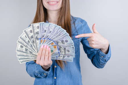 Cropped closeup photo portrait of charming nice positive glad enjoying executive worker employee student know how to make money isolated grey background 版權商用圖片