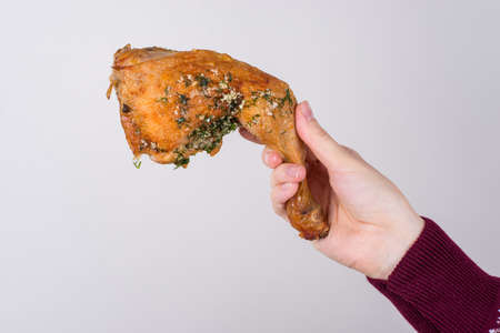 Cropped turned closeup photo of hand stretching greasy tasty delicious yummy chicken with spice isolated grey background copy space
