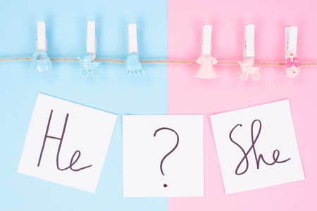 Gender reveal gathering party concept. Close up photo of small clothespins with little footprint beanbag bib hanging on a rope text on white background