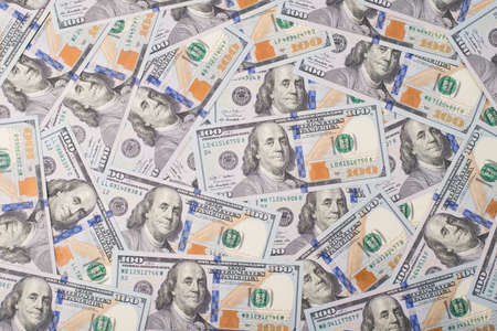 Top above overhead view photo of lot of american new paper dollars Stock Photo