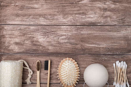 Top above overhead view photo of eco-friendly bath products isolated on wooden background with copy space