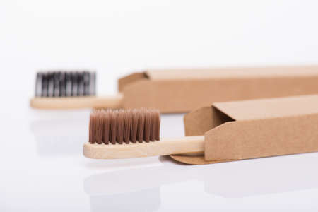 Zero waste concept. Close-up side profile view photo of eco-friendly wrapped in craft cardboard paper box case cover black and brown toothbrushes isolated on white background