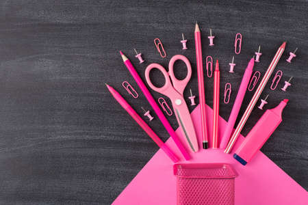 Back to school shopping concept. Top above overhead view layout photo of set falling pink stationery with clips pins placed to the right side isolated on blackboard