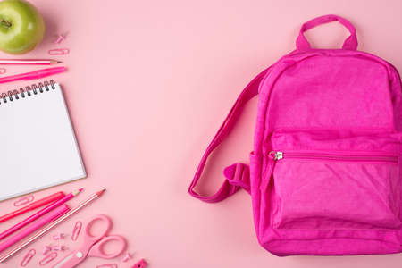Top above overhead view photo of pink backpack green apple and colorful stationery isolated on pastel pink background