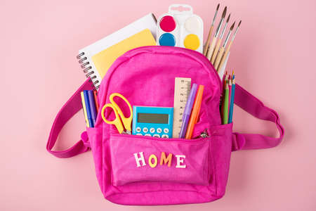 Remote studying at home concept. Top above overhead view photo of pink backpack and colorful stationery isolated on pastel pink background