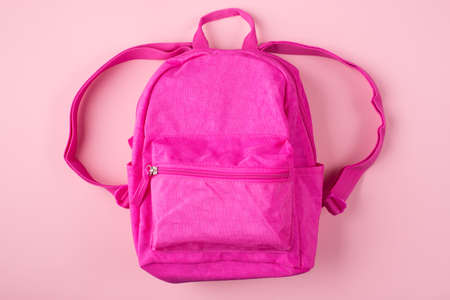 Top above overhead view photo of pink backpack isolated on pastel pink background
