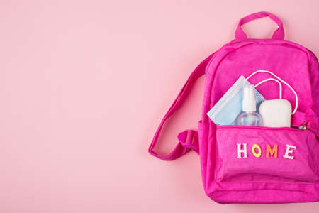 Remote studying concept. Top above overhead view photo of pink backpack blue mask soap hand sanitizer isolated on pastel pink background with copyspace