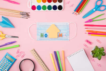 Staying at home concept. Top above overhead view photo of colorful stationery blue mask home letters and succulent isolated on pastel pink background