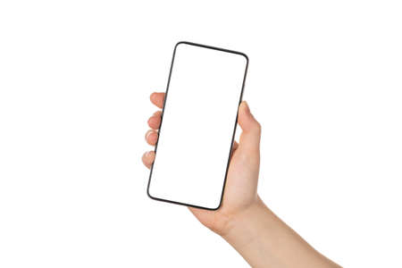 Close up photo of girl hand holding smart phone without frame in hand in angled position isolated on white color background