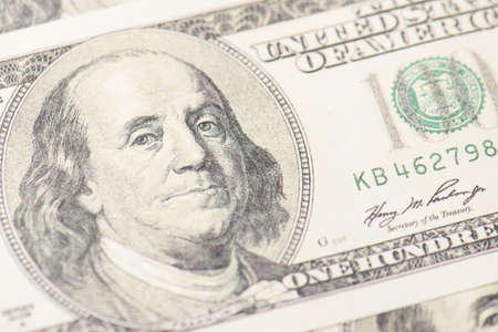 Close up view photo of american paper banknotes Stock Photo