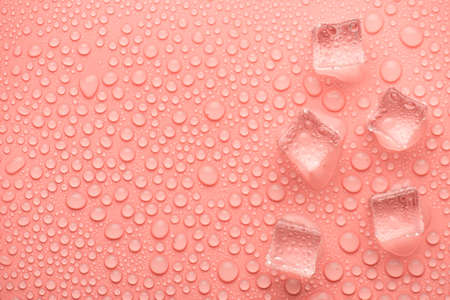 Top above overhead close up view photo image of ice cubes on light pink backdrop with drops