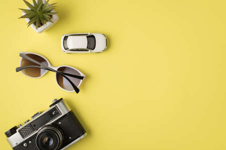 Top view photo of plant car model sunglasses and camera on isolated pastel yellow background with copyspace 免版税图像
