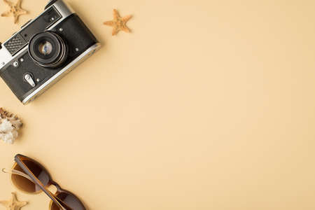 Top view photo of camera sunglasses seashell and starfishes on isolated beige background with copyspace 免版税图像