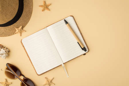 Top view photo of hat sunglasses pen diary seashell and starfishes on isolated beige background with copyspace