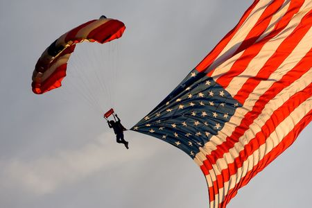 nscs: August 23, 2008 - Bristol, Tennessee -  A sky diver parachutes with an American Flag during pre-race activities at Bristol Motor Speedway before the running of the NSCS Sharpie 500 in Bristol, Tennessee. (Photo by Jared C. TiltonASP Inc)
