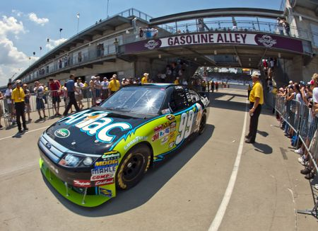 roush: INDIANAPOLIS, IN - JULY 24, 2010:  Carl Edwards brings his Aflac Ford back into the garage area during a practice session for the Brickyard 400 race at the Indianapolis Motor Speedway in Indianapolis, IN. Editorial