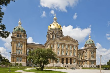 The Iowa State Capitol is the state capitol building of the U.S. state of Iowa. Housing the Iowa General Assembly, it is located in the state capital of Des Moines at East 9th Street and Grand Avenue. The building was constructed between 1871 and 1886. Fo