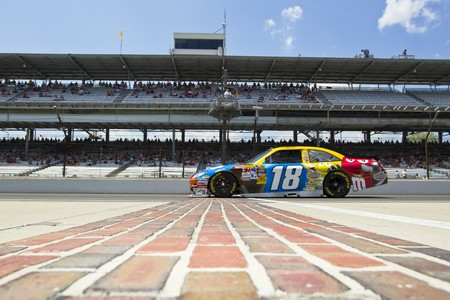 kyle: INDIANAPOLIS, IN - JULY 23, 2010:  Kyle Busch brings his M&Ms Toyota across the bricks during a practice session for the Brickyard 400 race at the Indianapolis Motor Speedway in Indianapolis, IN.