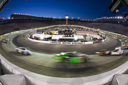 Bristol, TN - AUG 20, 2010:  The NASCAR Nationwide teams take to the track for the Food City 250 race at Bristol Motor Speedway in Bristol, TN.