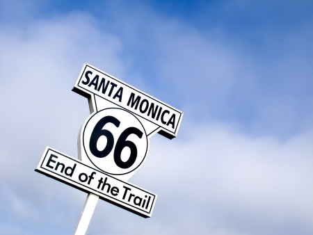 End of the trail sign in Santa Monica, route 66 photo
