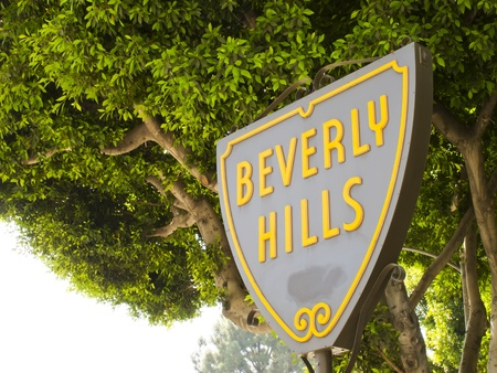 BEVERLY HILLS, CA - Nov 19: The Beverly Hills Shield greets visitors along Santa Monica Blvd on Nov 19, 2010 in Beverly Hills, California.
