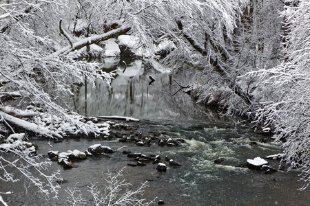 A winter landscape show snow falling on a creek with trees photo