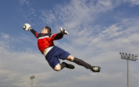 match head: Image of a soccer player in action Stock Photo