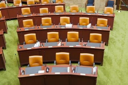bureaucratic: View of seats in a Senate Chamber
