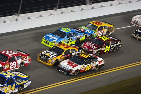 Daytona Beach, FL - Feb 18, 2012:  Greg Biffle (16) brings his 3M Ford through the turns during the Budweiser Shootout at the Daytona International Speedway in Daytona Beach, FL.