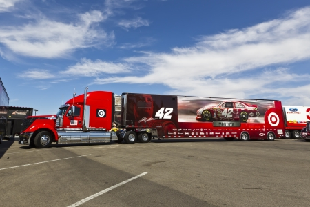 LAS VEGAS, NV - MAR 08, 2012   The NASCAR Sprint Cup hauler of Juan Pablo Montoya  42  waits to enter the Las Vegas Motor Speedway before the running of the Kobalt Tools 400 race in Las Vegas, NV