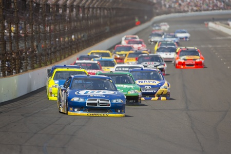 INDIANPOLIS, IN - JUL 29, 2012:  Brad Keselowski (2) brings his car down the front stretch during the Curtiss Shaver 400 presented by Crown Royal Sprint Cup Series race at the Indianapolis Motor Speedway in Indianapolis, IN.