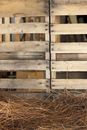 Wood palette and hay photo