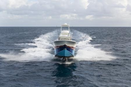 Bateau à moteur rapide avec des éclaboussures et se réveiller sur un océan Banque d'images - 16398146