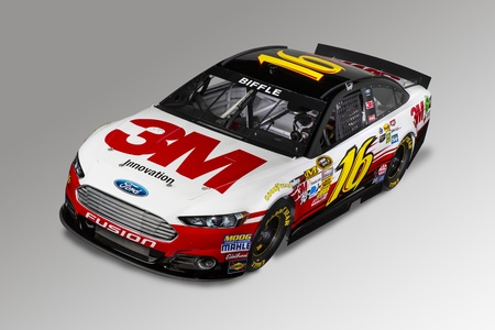 MOORESVILLE, NC - DECEMBER 12, 2012:  Greg Biffle (16) and the 3M Ford Fusion make their debut in the studio in Mooresville, NC on Dec 12, 2012.